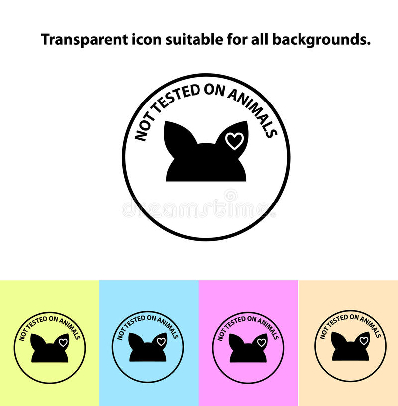 Transparent not tested on animals sign icon. Not tested symbol. Classic flat icon. Vector illustration stock illustration