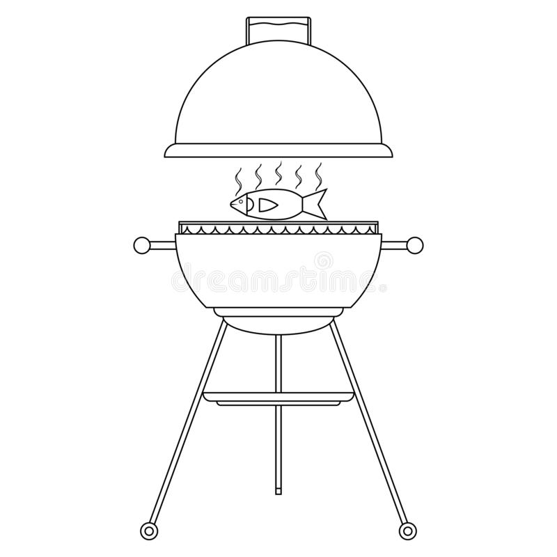 Appetizing fish on the grill. Grilled fish on the grid. Bbq time and barbecue party. Fire, smoke and fish meat. Opened barbecue.. Isolated vector transparent vector illustration