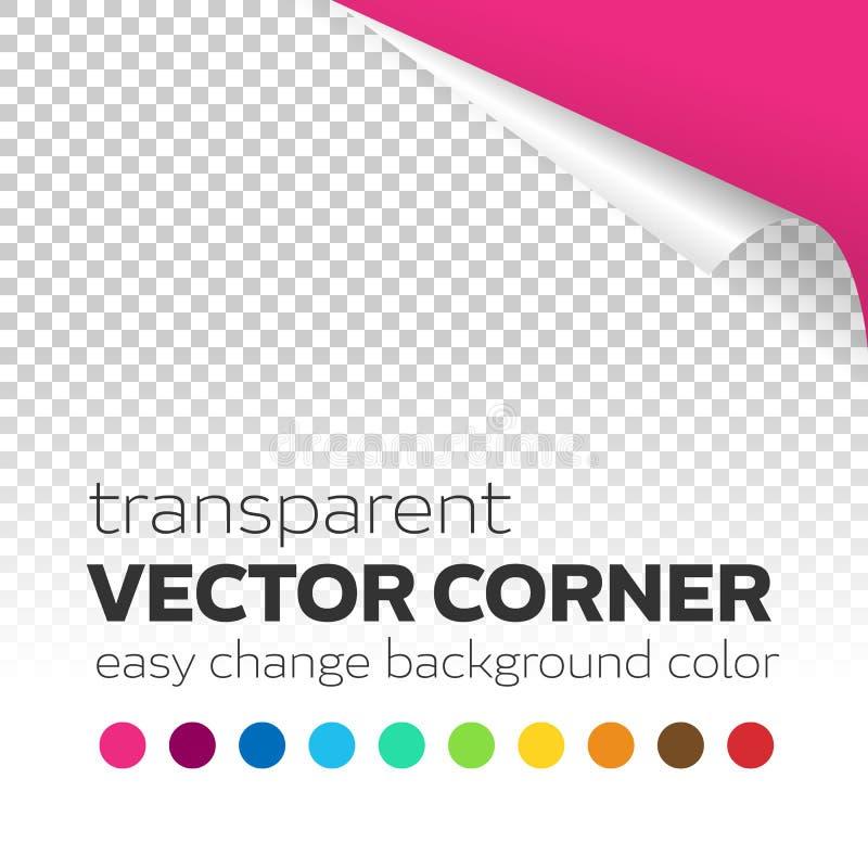 Transparent paper page curl corner with colored background. Easy change corner curl color background. Editable transparent curl corner with shadow stock illustration