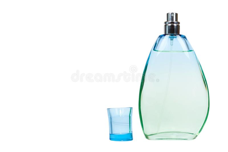 Transparent perfume bottle isolated on white background, copy space template stock image
