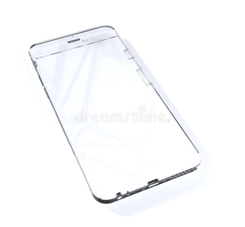 Transparent phone. White glass phone with hotspots over white vector illustration
