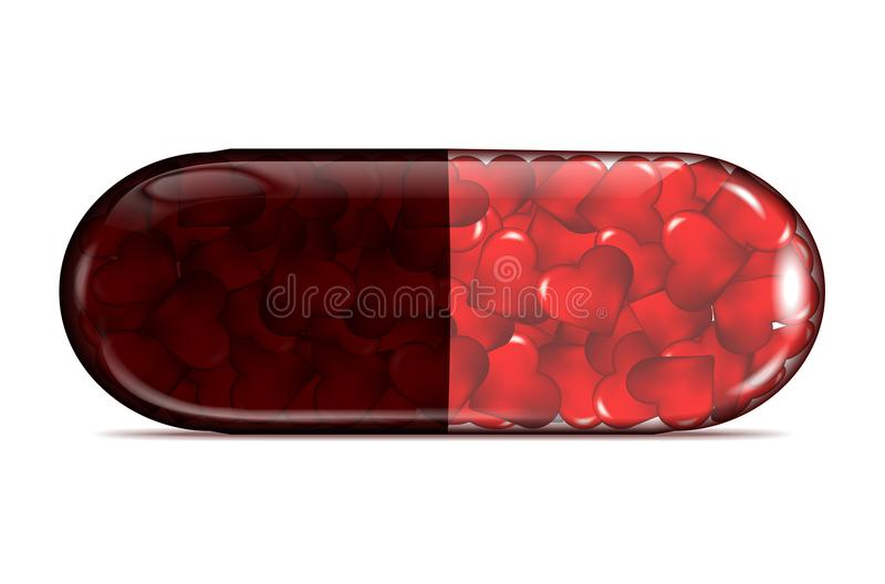 Transparent pill of red hearts with shadow on white background stock illustration