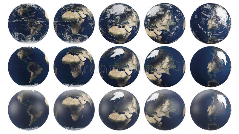 Transparent Planet earth from multiple angles focusing on different continents vector illustration