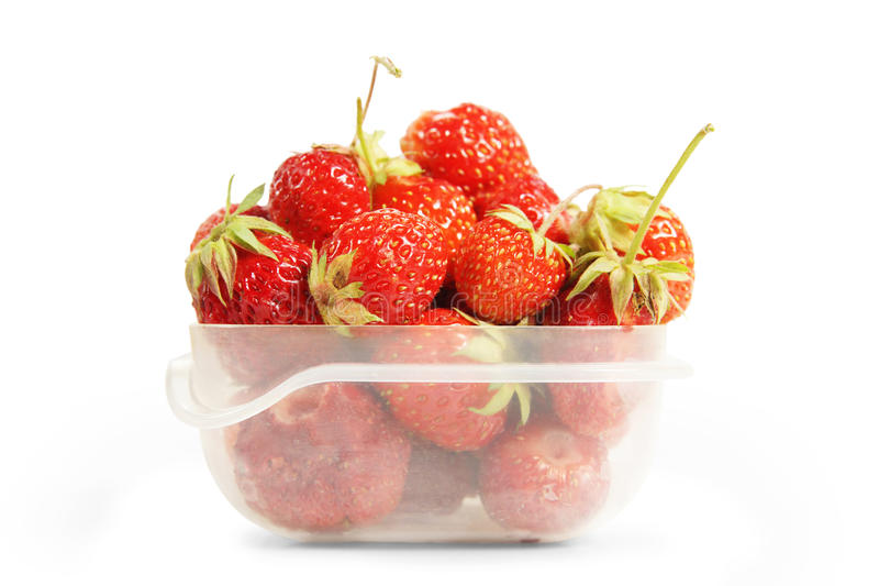 Transparent plastic box with red ripe strawberries stock photography