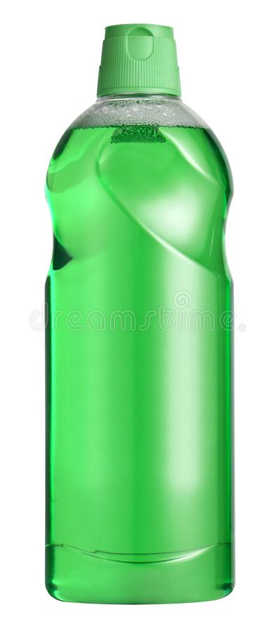 Transparent plastic container with green liquid. Isolated on white background royalty free stock photos