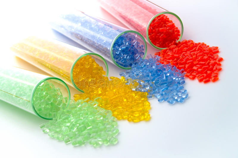 Transparent plastic granulates stock photos