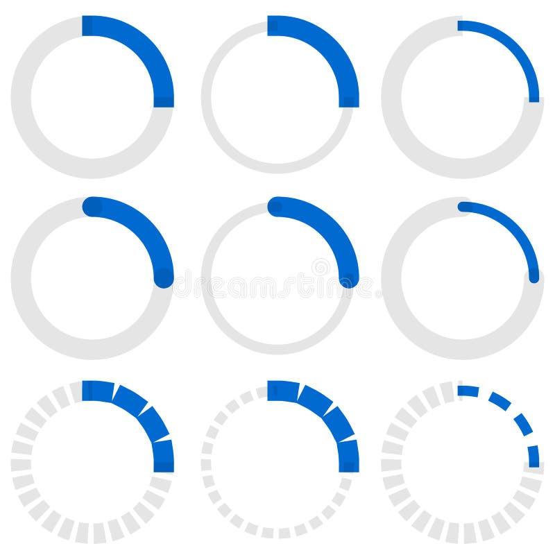 Transparent progress indicators. Preloaders, phase, step indicat stock illustration