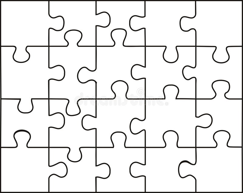 Transparent puzzle. Vector transparent puzzle on withe background royalty free illustration