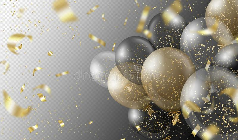 Transparent realistic balloons and golden confetti isolated on transparent background. Party decorations for birthday stock illustration