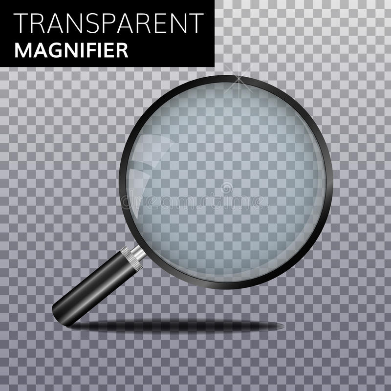 Transparent realistic magnify glass vector. Magnifier High quality Magnifying lens royalty free illustration