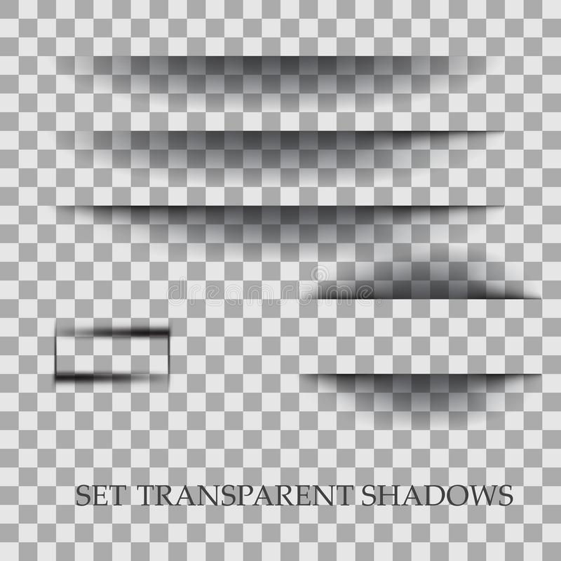Transparent realistic paper shadow effect set. Element for advertising and promotional message isolated on transparent vector illustration