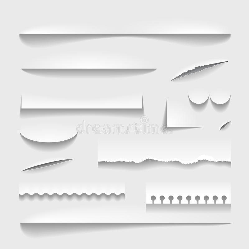 Transparent realistic paper shadow effect set. Perforated ripped edges royalty free illustration