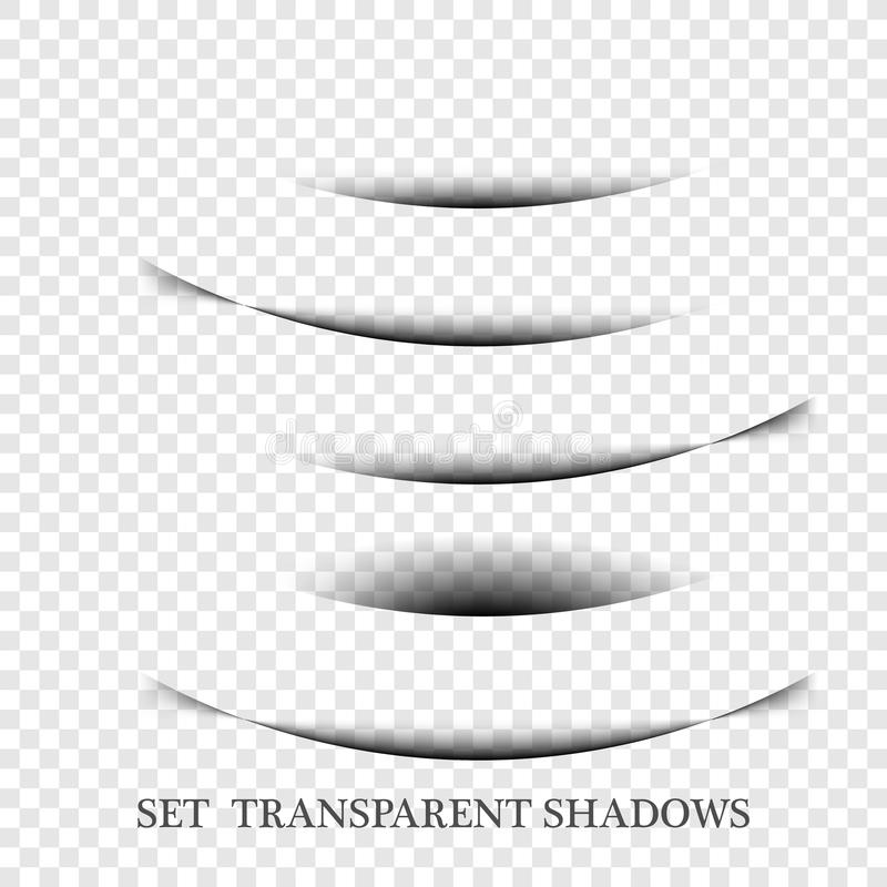 Transparent realistic paper shadow effect set. Web banner. Element for advertising and promotional message isolated on transparent stock illustration