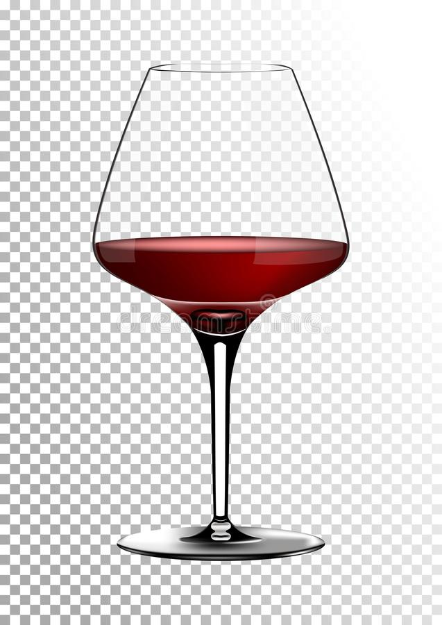 Transparent realistic vector wineglass full of red wine rich dark ruby burgundy color. Illustration in photorealistic. Transparent realistic wineglass full of stock illustration
