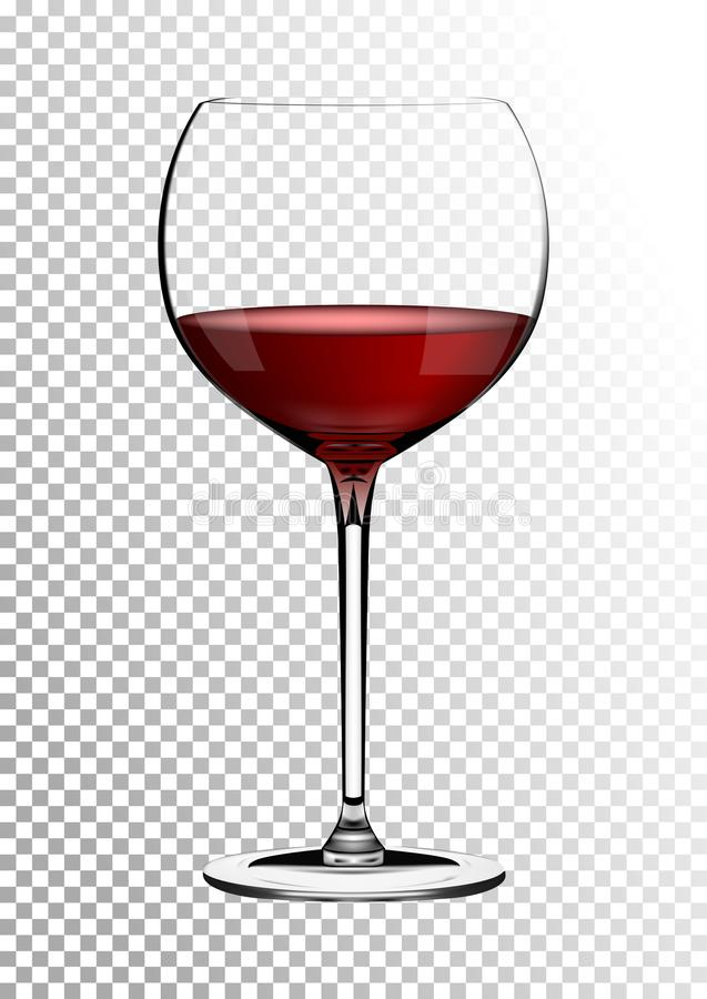 Transparent realistic vector wineglass full of red wine rich dark ruby burgundy color. Illustration in photorealistic. Transparent realistic wineglass full of vector illustration