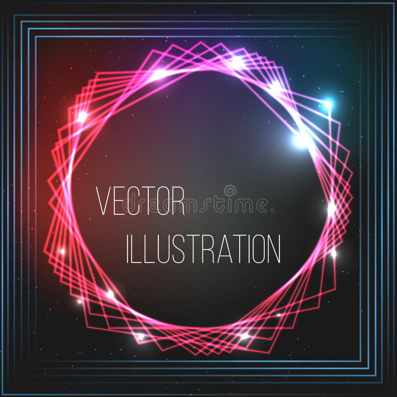 Transparent red, blue, black banner. Abstract glowing vector scope. Bright light effect. Neon frame with stars. Space royalty free illustration