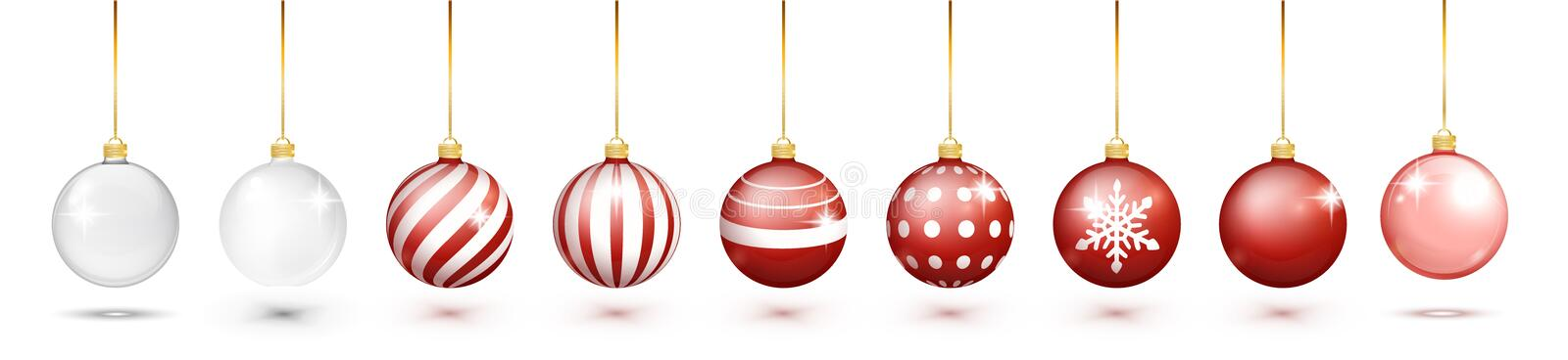 Transparent and Red Christmas ball set with snow effect set. Xmas glass ball on white background. Holiday decoration royalty free illustration