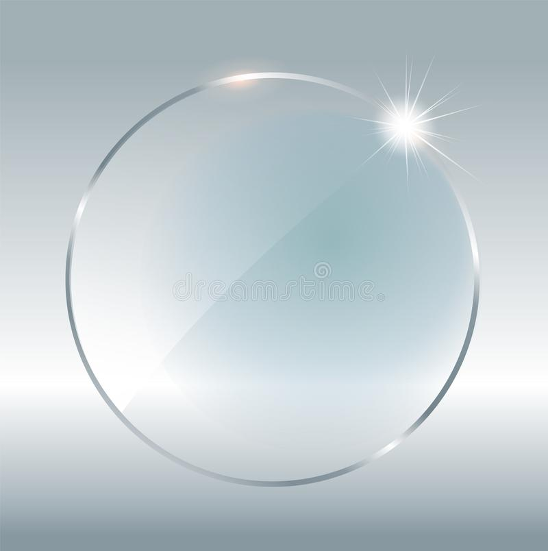 Transparent round circle. See through element on checkered background. Plastic banner with reflection and shadow. Glass. Plate mock up. Vector illustration vector illustration