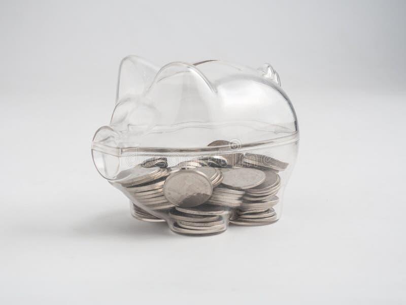 Transparent see through piggy bank royalty free stock photo