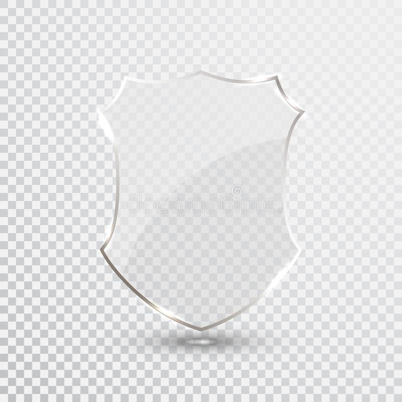 Transparent Shield. Safety Glass Badge Icon. Privacy Guard Banner. Protection Shield Concept. Decoration Secure Element. Defense S. Ign. Conservation Symbol vector illustration