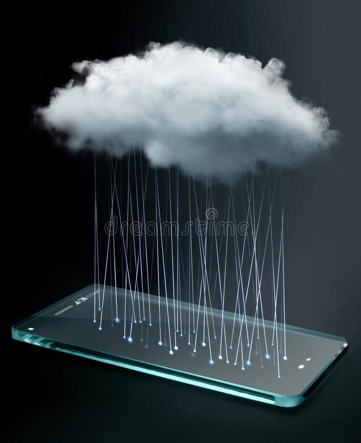 Transparent smartphone with cloud computing technology. Cloud computing is a general term for the delivery of hosted services over the Internet royalty free stock image