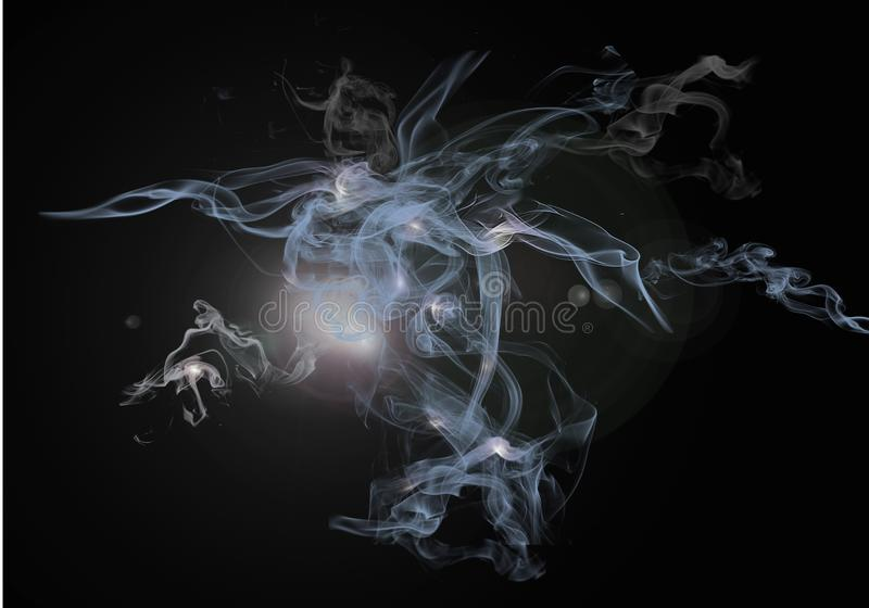 Transparent smoke jets. Light transparent jets of smoke, flying to the sides . Highlights and lighting effects on a black background. Beautiful abstract story stock images