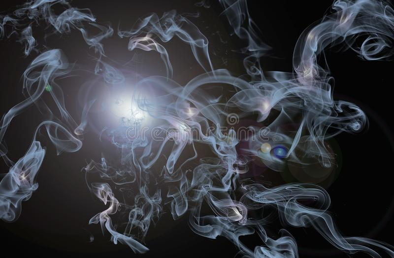 Transparent smoke jets. Light transparent jets of smoke, flying to the sides . Highlights and lighting effects on a black background. Beautiful abstract story stock photos