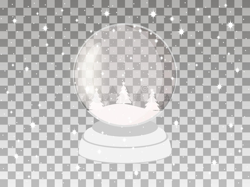Transparent snow globe on a transparent background. Holiday toy. Vector. Illustration vector illustration