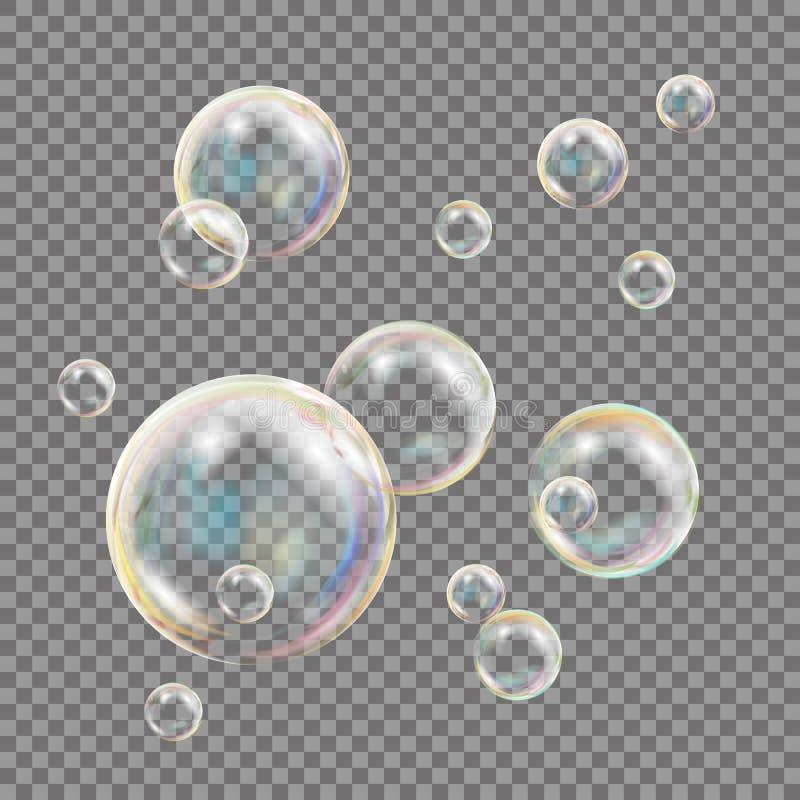 Transparent Soap Bubbles Vector. Colorful Falling Soap Bubbles. Illustration royalty free illustration