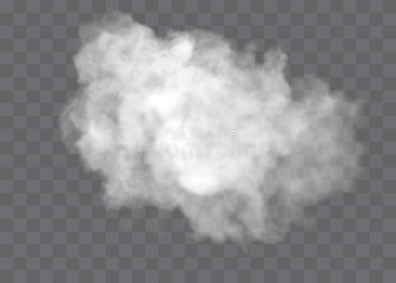 Transparent special effect stands out with fog or smoke. White cloud vector, fog or smog. Transparent special effect stands out with fog or smoke. White cloud royalty free illustration