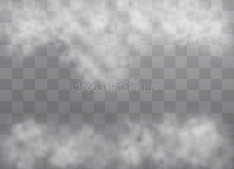 Fog or smoke. Transparent special effect stands out with fog or smoke. White cloud vector, fog or smog. Vector illustration. White gradient on a transparent stock illustration