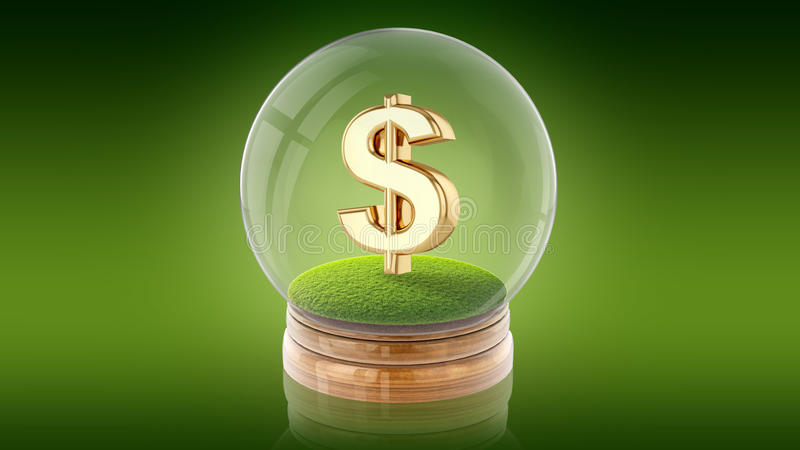 Transparent sphere ball with dollar sign inside. 3D rendering. Transparent sphere glass ball with dollar sign on the grass inside. 3D rendering stock illustration