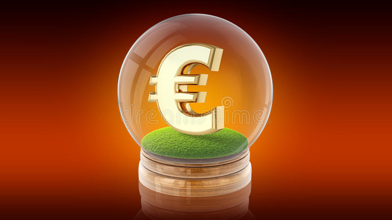 Transparent sphere ball with euro sign inside. 3D rendering. Transparent sphere glass ball with euro sign on the grass inside. 3D rendering vector illustration