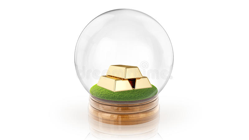 Transparent sphere ball with golden bars inside. 3D rendering. Transparent sphere glass ball with golden bars on the grass inside. 3D rendering stock photo