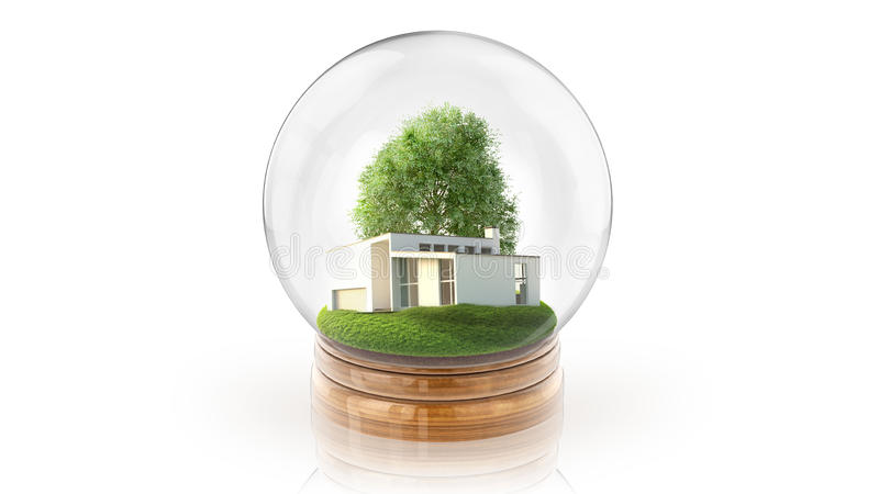 Transparent sphere ball with modern white house inside. 3D rendering. stock photos
