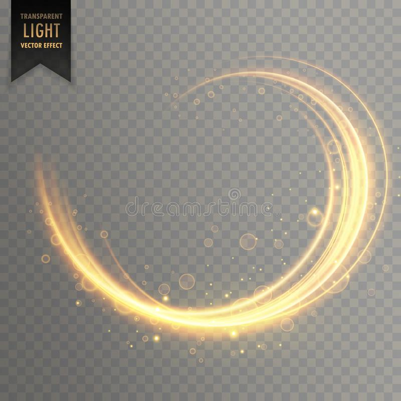 Transparent swirl golden light effect background royalty free illustration