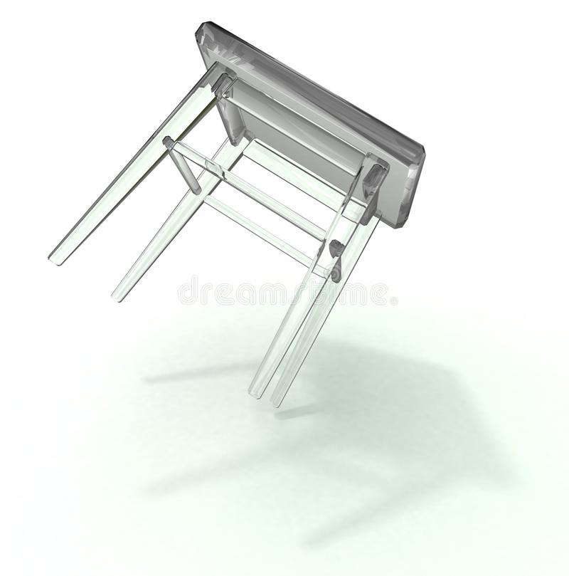 Falling glass stool royalty free stock photography