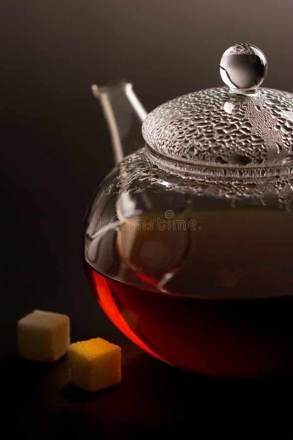 Download Transparent Teapot With Black Tea And Sugar Stock Photo - Image: 6894086