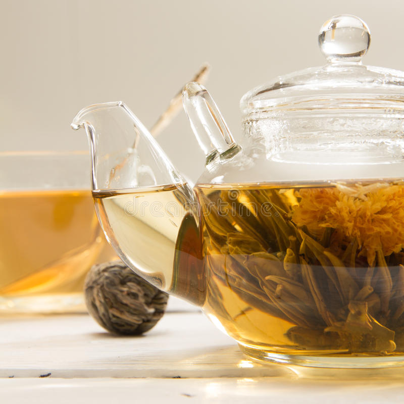 Transparent teapot stock image