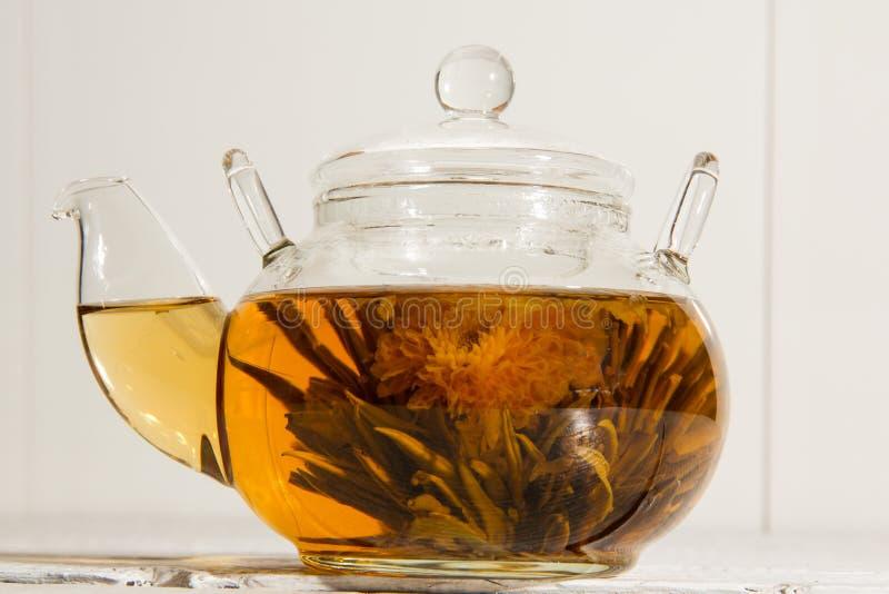 Transparent teapot stock photo