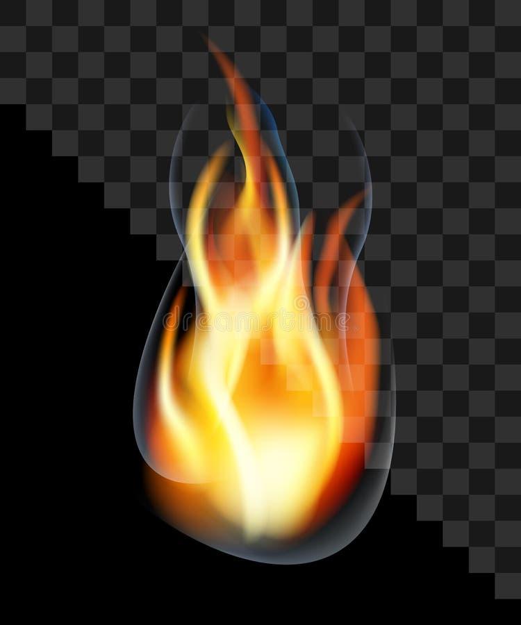 Transparent translucide de fumée brûlante de torche de flamme du feu de baisse illustration stock