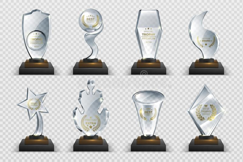 Transparent trophies. Realistic crystal glass awards with text, isolated competition cups stars and prizes. Vector stock illustration