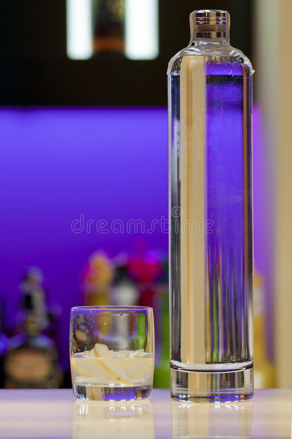 Download Transparent Vodka Bottle And Glass At The Bar Stock Image - Image: 16950205