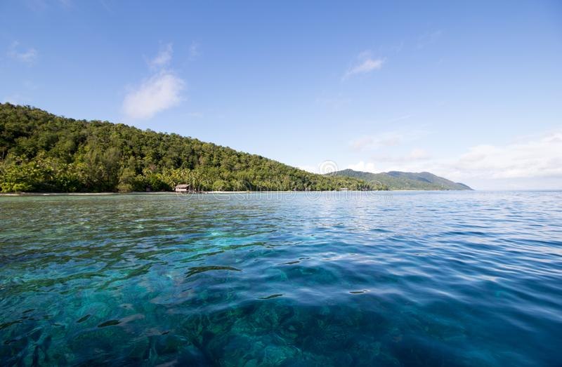 Transparent water and amazing reef in raja ampat archipelago. West papua stock photo