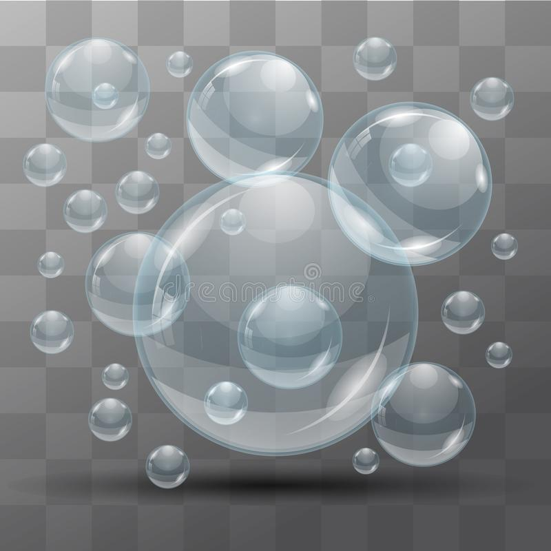 Transparent water bubbles on a black background. Isolated objects. Vector the background. royalty free illustration