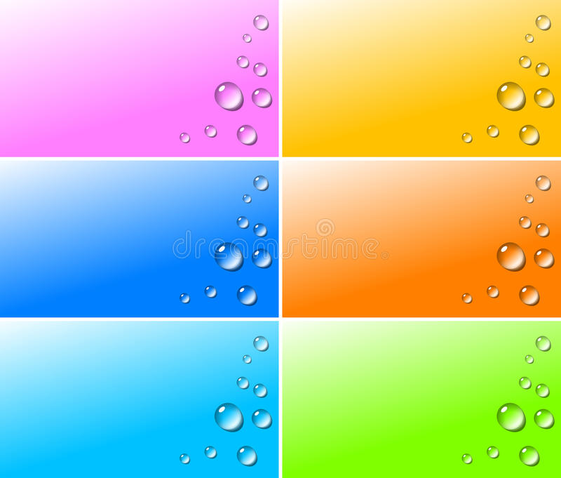 Transparent water drops on colorful backgrounds royalty free illustration