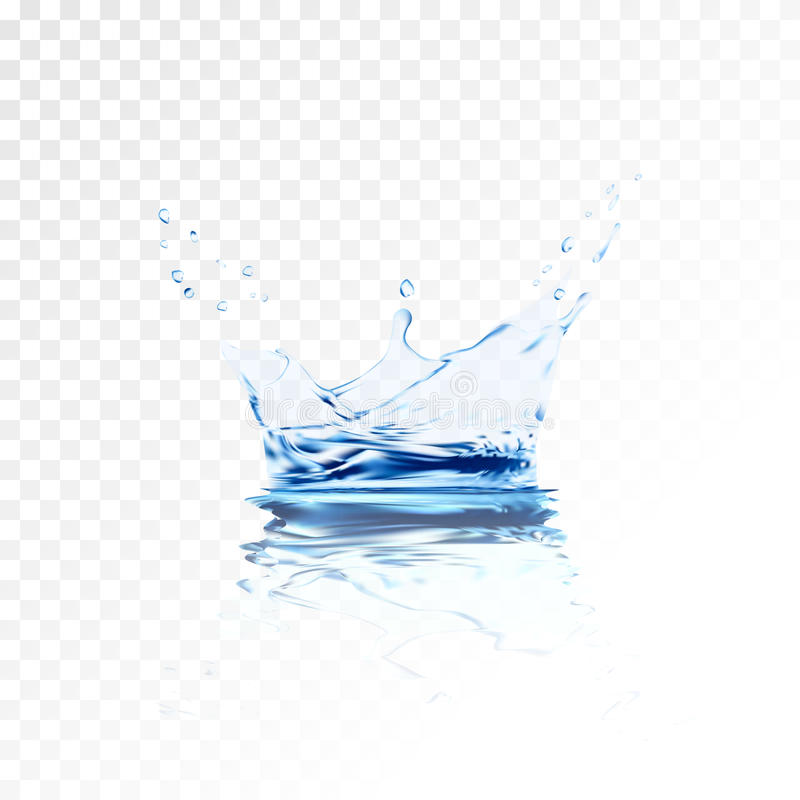 Transparent water splash with reflection and drops . 3d illustration vector. aqua surface background created stock illustration