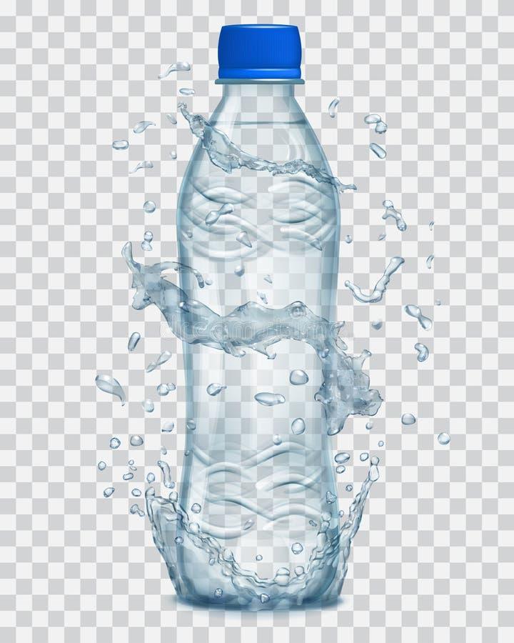 Transparent water splashes around a plastic bottle with mineral water. Transparent water splashes in light blue colors around a light blue transparent plastic royalty free illustration
