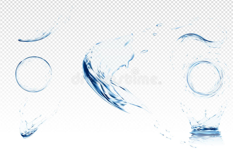 Transparent water wave with bubbles. Vector illustration in light blue colours. Purity and freshness concept. Website royalty free illustration