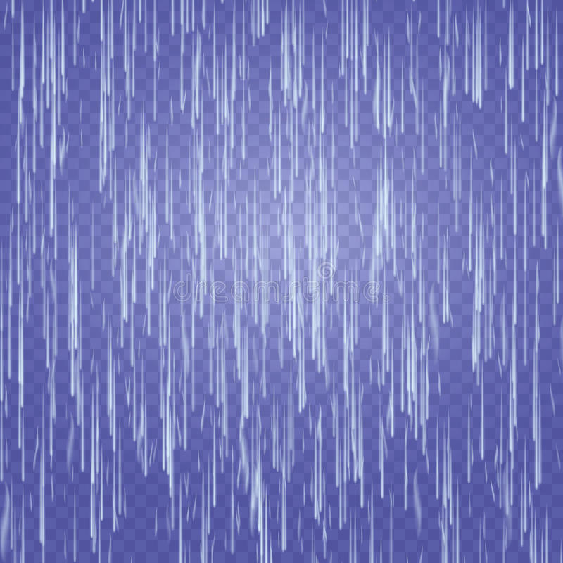 Transparent Waterfall Vector. Abstract Falling Water Texture. Nature Or Artificial Blue Water Drops Wall. Checkered Background. EP. S 10 royalty free illustration